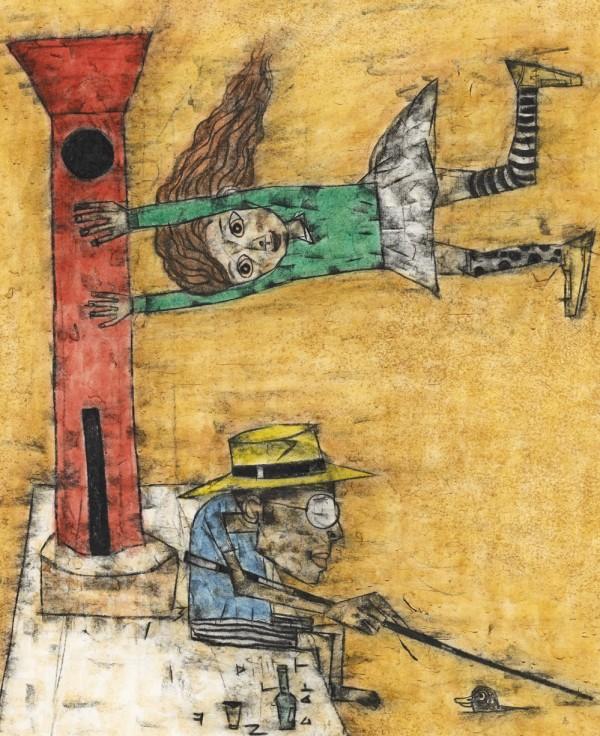 임만혁_빨간등대13-1_  65x53cm_ 한지에목탄채색_ 2013