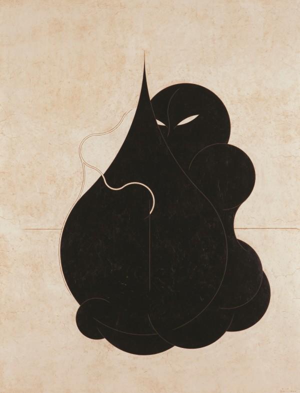 양대원_안다 Embrace(Hug)_ 131×101cm_ 광목천 위에 한지, 혼합재료_ 2014