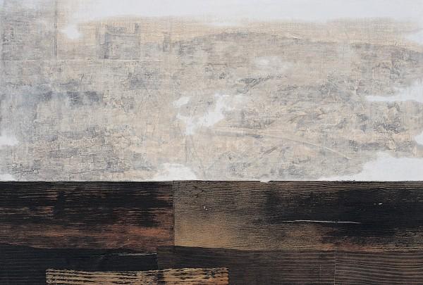 최익진_낙원도-23_ 42x60.6m_ 소석회에 목탄 호분 콩댐, 나무에 먹과 염료 셀락_ 2004