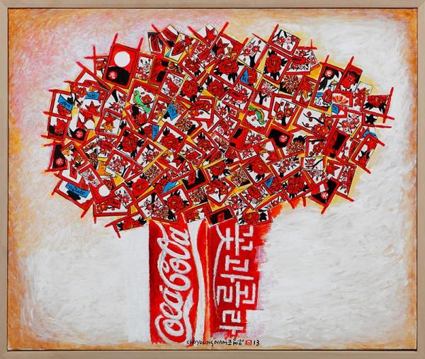 극동에서 온 꽃, 서양에서 온 코카콜라_Acrylic on canvas_72x60.5cm_2013
