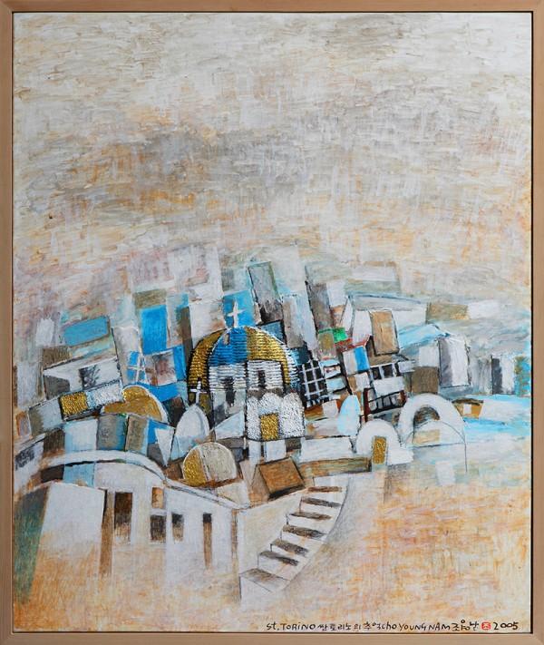 산토리니의 추억_Acrylic and Collage on canvas 76x64_2005