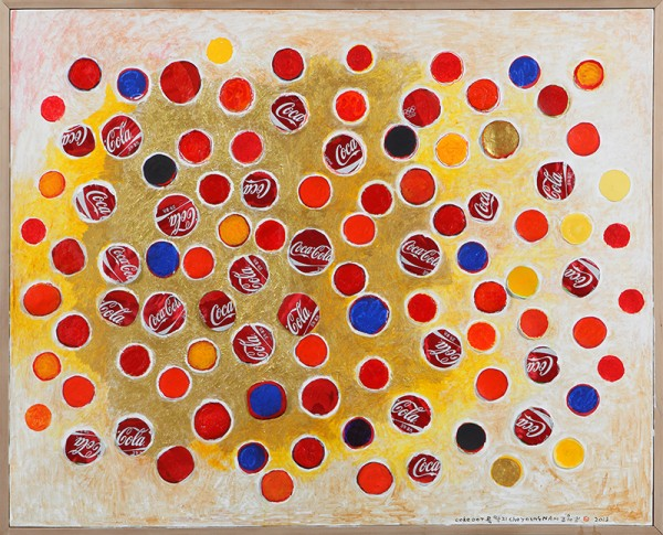 COKE DOT 콕,딱지_Acrylic and Collage on canvas_83.5x103cm_2013