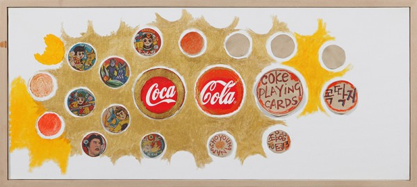 coke,딱지_Acrylic and Collage on canvas_77x33cm_2013