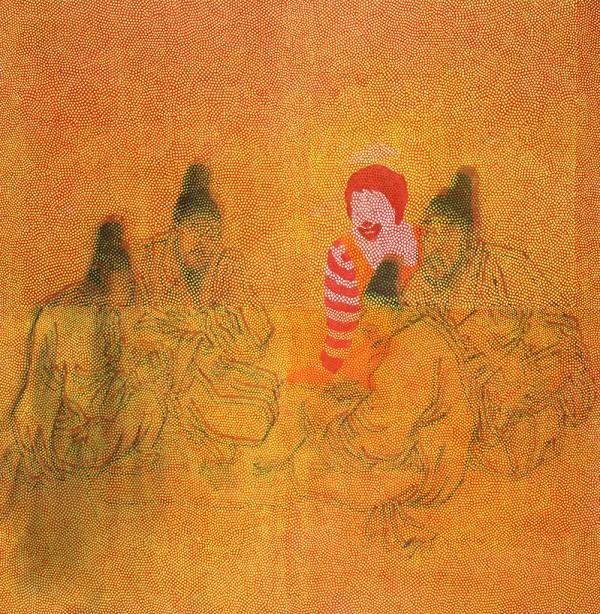 로널드씨유람기00701,순지에인두,수묵,장지에채색,배접,코팅,180X180.2007.