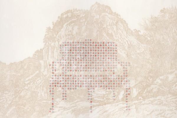 서로다른개념의 두가지치유-알약과풍경2.순지에향불,장지에배접,코팅.360X240cm. 2012. 8000만