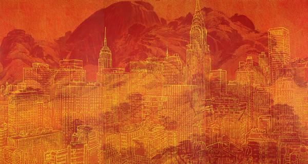 인왕산 & Manhattan. 순지에인두,채색장지에채색,배접,코팅. 193X120cmX3ea.2010
