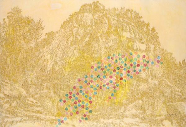 색을던지다.순지에향불,장지에채색,배접,코팅.134X198cm. 2012. 3000만